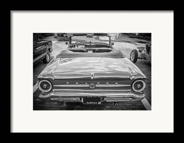 1963 Ford Falcon Sprint Framed Print featuring the photograph 1963 Ford Falcon Sprint Convertible Bw by Rich Franco