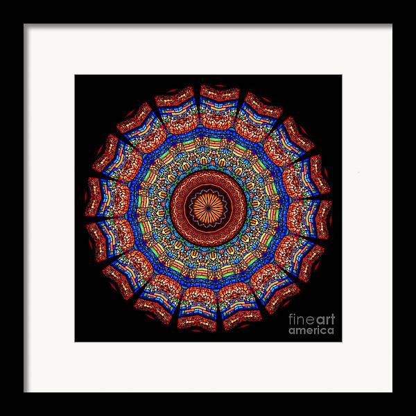 Abstract Framed Print featuring the photograph Kaleidoscope Stained Glass Window Series by Amy Cicconi