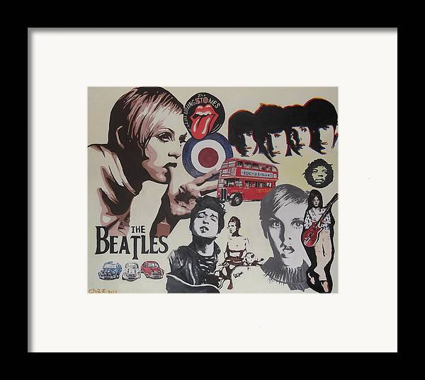 60's Montage Framed Print featuring the painting 60's Montage by Cherise Foster