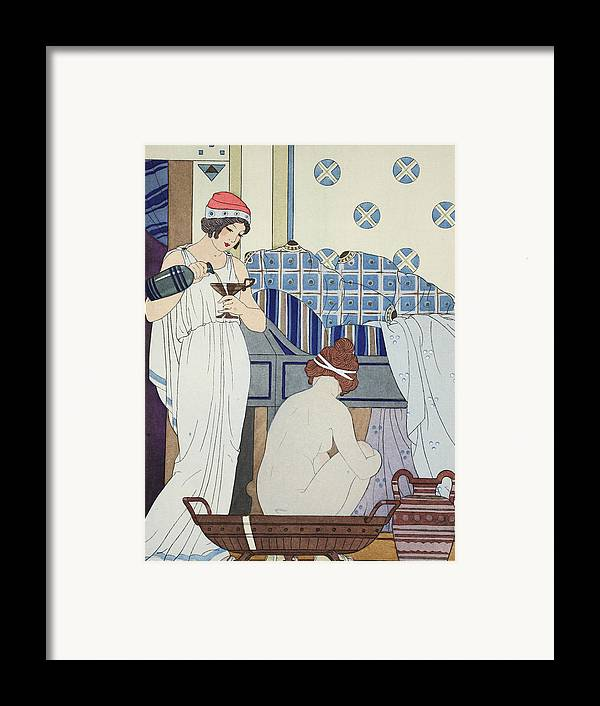 Naked Framed Print featuring the painting A Bath Seat by Joseph Kuhn-Regnier