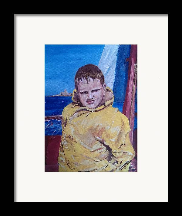 Boat Framed Print featuring the painting A Boy On A Boat by Jack Skinner