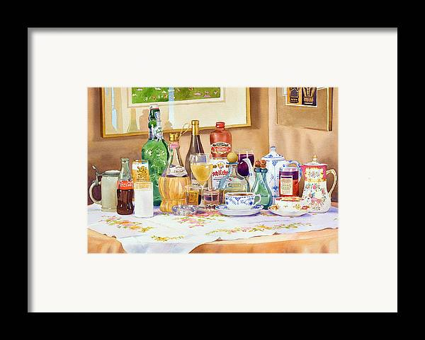 Drinks Framed Print featuring the painting A Collection Of Drinks by Mary Helmreich