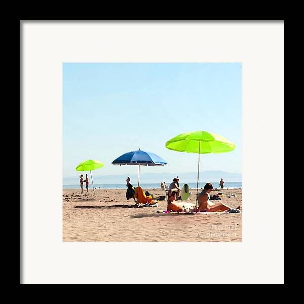Beach Umbrellas Framed Print featuring the painting A Fine Day At The Beach by Artist and Photographer Laura Wrede