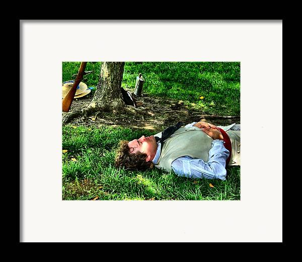 Revolutionary Soldiers Framed Print featuring the photograph A Soldier's Rest by Julie Dant