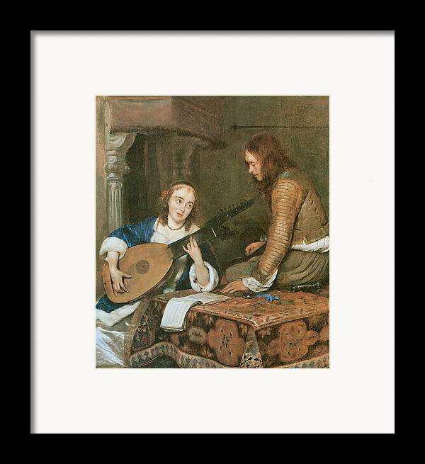 Gerard Terborch Framed Print featuring the painting A Woman Playing The Theorbo-lute And A Cavalier by Gerard Terborch