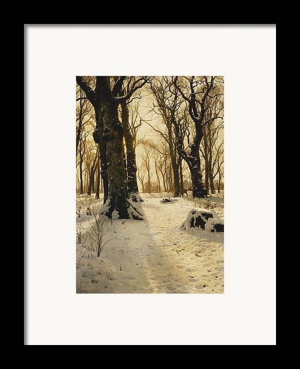 1910s Framed Print featuring the painting A Wooded Winter Landscape With Deer by Peder Monsted