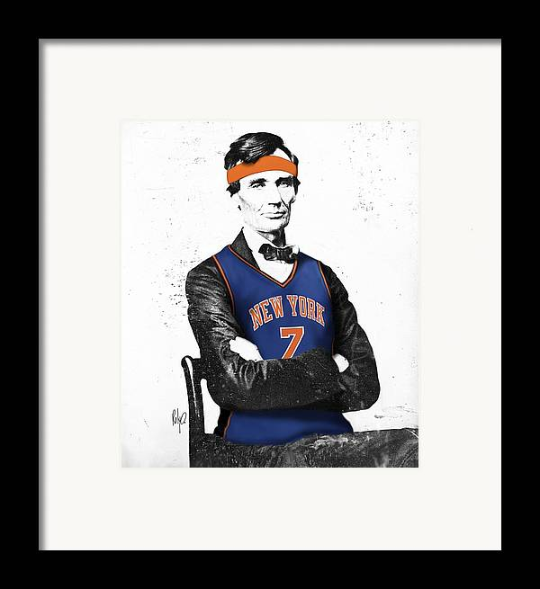 Abe Lincoln Drawings Framed Print featuring the drawing Abe Lincoln In A Carmelo Anthony New York Knicks Jersey by Roly Orihuela