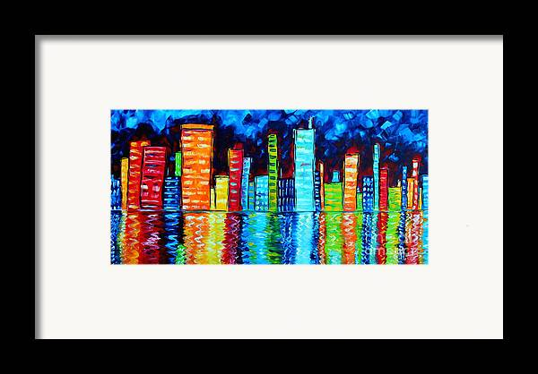 Abstract Framed Print featuring the painting Abstract Art Landscape City Cityscape Textured Painting City Nights II By Madart by Megan Duncanson