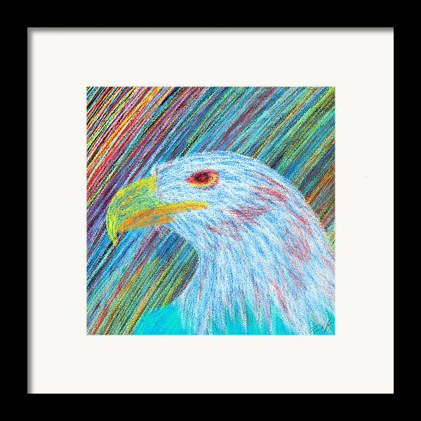 Eagle With Red Eye Framed Print featuring the drawing Abstract Eagle With Red Eye by Kenal Louis