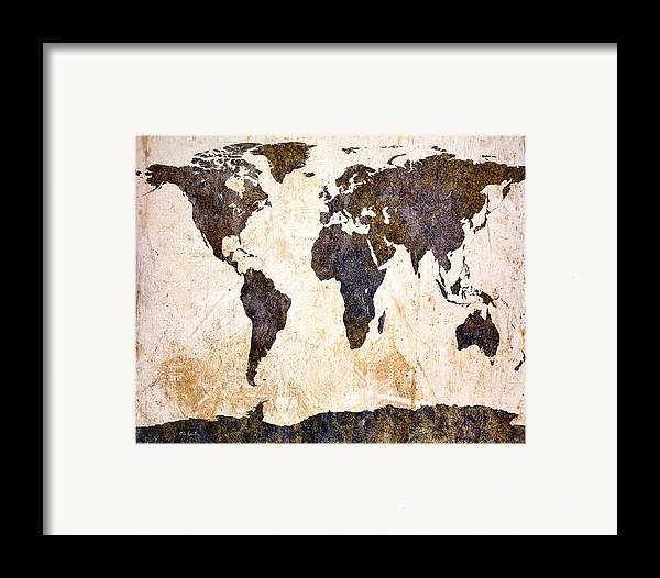 Map Framed Print featuring the digital art Abstract Earth Map by Bob Orsillo