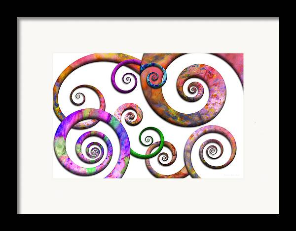 Abstract Framed Print featuring the digital art Abstract - Spirals - Planet X by Mike Savad
