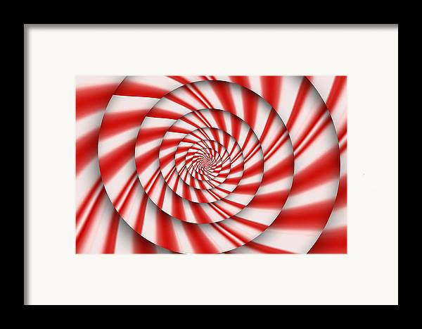 Abstract Framed Print featuring the digital art Abstract - Spirals - The Power Of Mint by Mike Savad