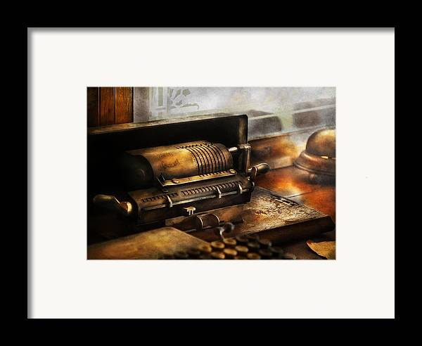 Suburbanscenes Framed Print featuring the photograph Accountant - The Adding Machine by Mike Savad