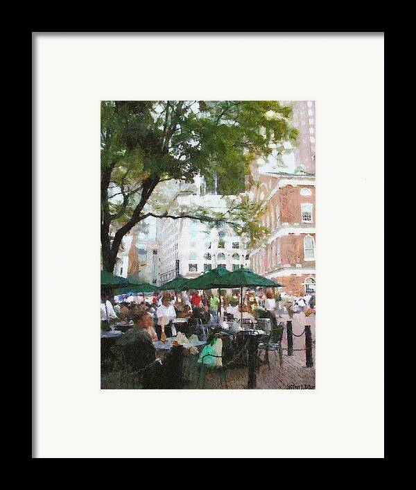 Afternoon Framed Print featuring the painting Afternoon At Faneuil Hall by Jeff Kolker