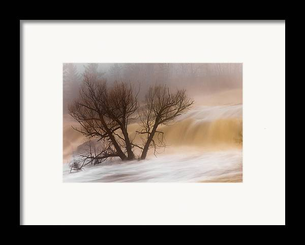 against The Current st. Louis River jay Cooke thomsen Reservoir spring Tree long Exposure spring Melt fog mist nature river mary Amerman Framed Print featuring the photograph Against The Current by Mary Amerman