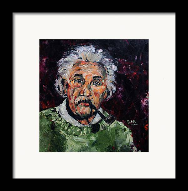 Oil Framed Print featuring the painting Albert Einstein by Becky Kim