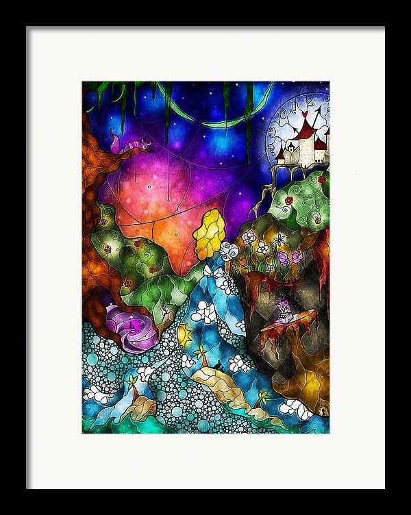 Alice In Wonderland Framed Print featuring the digital art Alice's Wonderland by Mandie Manzano