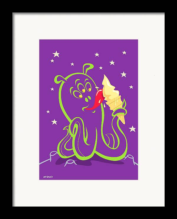 Alien Planet Framed Print featuring the digital art Alien Ice Cream -vector Version by Martin Davey