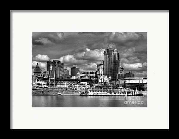 Cityscapes Framed Print featuring the photograph All American City Bw by Mel Steinhauer