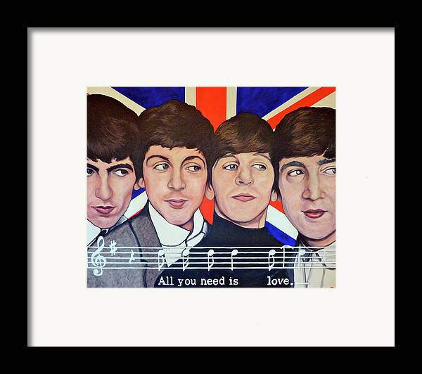 The Beatles Framed Print featuring the painting All You Need Is Love by Tom Roderick