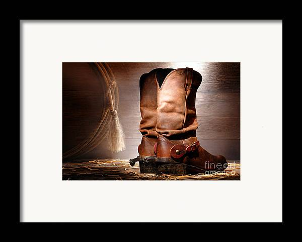 Western Framed Print featuring the photograph American Cowboy Boots by Olivier Le Queinec