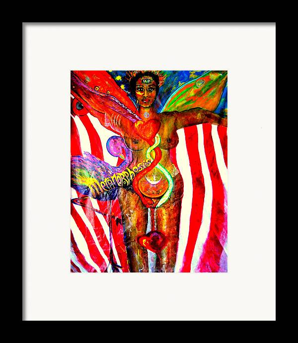 Yin Framed Print featuring the painting American Dream Metamorphosis by Shakti Brien