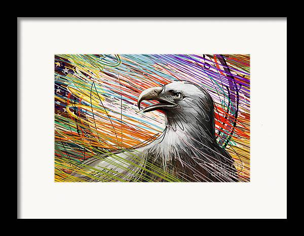 Eagle Framed Print featuring the digital art American Eagle by Bedros Awak
