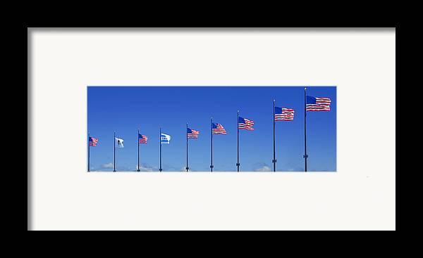 American Framed Print featuring the photograph American Flags On Chicago's Famous Navy Pier by Christine Till