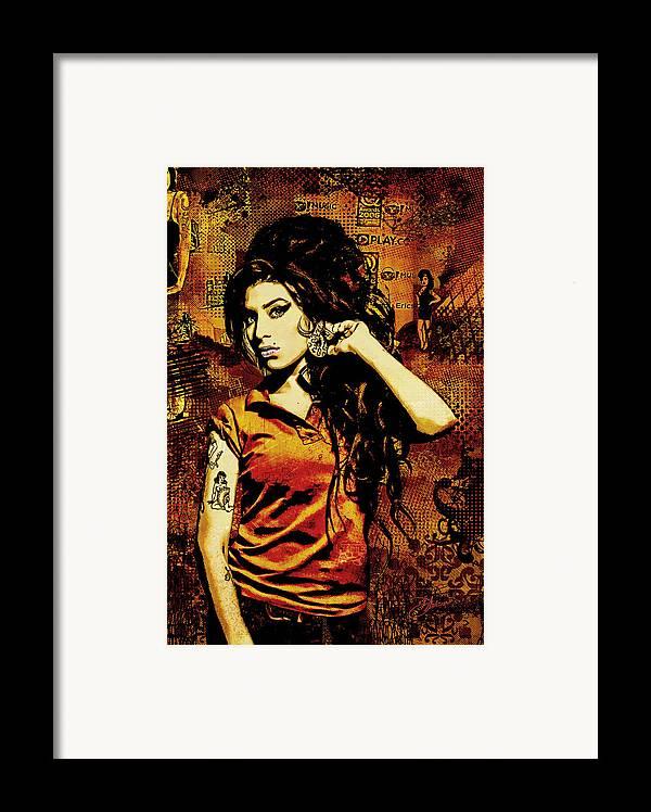 Amy Winehouse. Orange Framed Print featuring the digital art Amy Winehouse 24x36 Mm Reg by Dancin Artworks