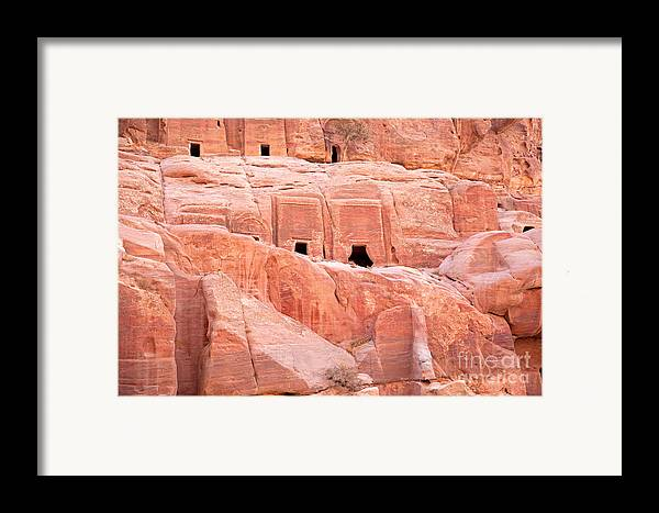 Ancient Framed Print featuring the photograph Ancient Buildings In Petra by Jane Rix