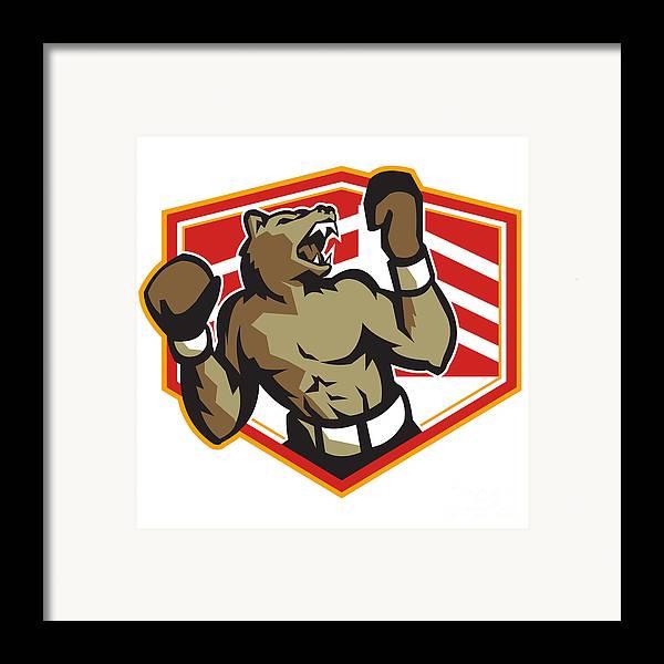 Bear Framed Print featuring the digital art Angry Bear Boxer Boxing Retro by Aloysius Patrimonio