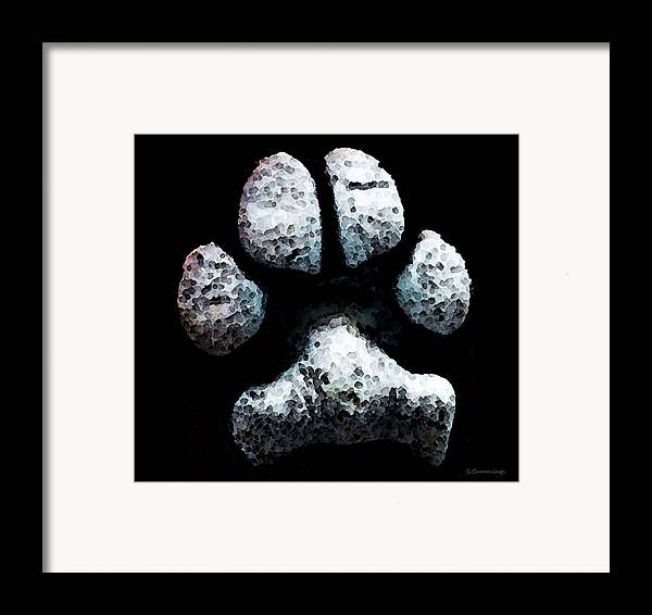 Paw Framed Print featuring the painting Animal Lovers - South Paw by Sharon Cummings