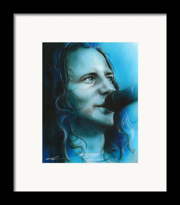 Eddie Vedder Framed Print featuring the painting 'arms Raised In A V' by Christian Chapman Art