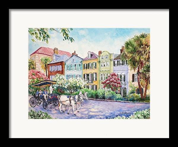 Charleston Framed Print featuring the painting Assault And Battery On Rainbow Row by Alice Grimsley