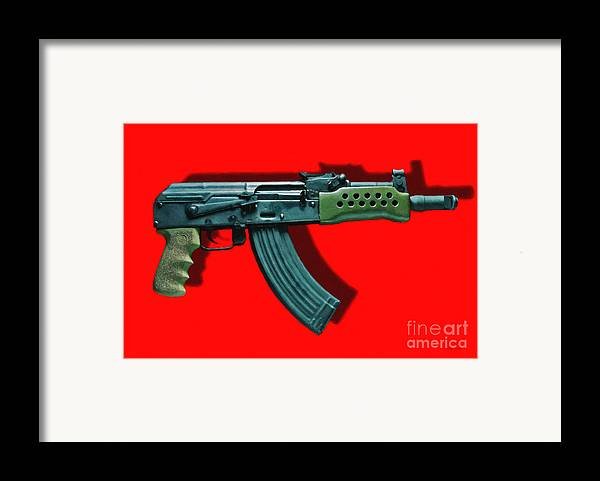 Gun Framed Print featuring the photograph Assault Rifle Pop Art - 20130120 - V1 by Wingsdomain Art and Photography