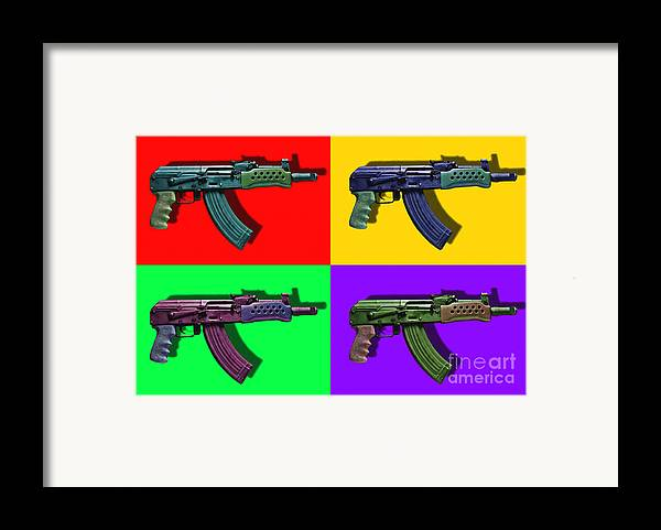 Gun Framed Print featuring the photograph Assault Rifle Pop Art Four - 20130120 by Wingsdomain Art and Photography