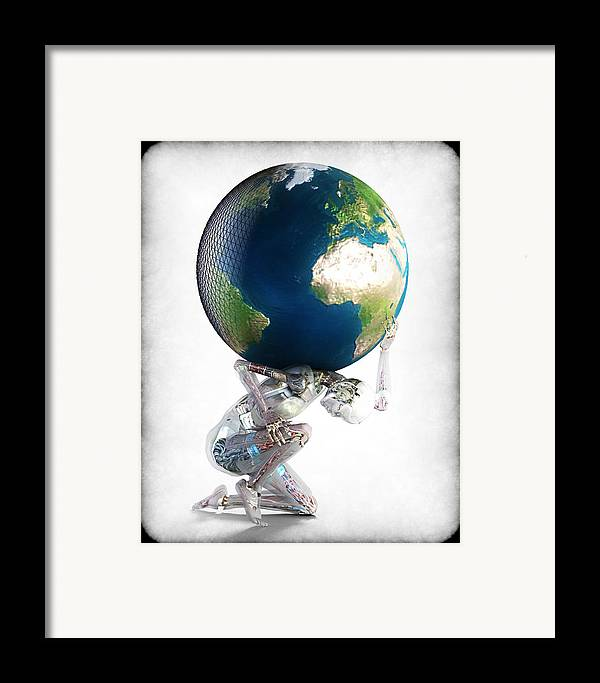 World Framed Print featuring the digital art Atlas 3000 by Frederico Borges