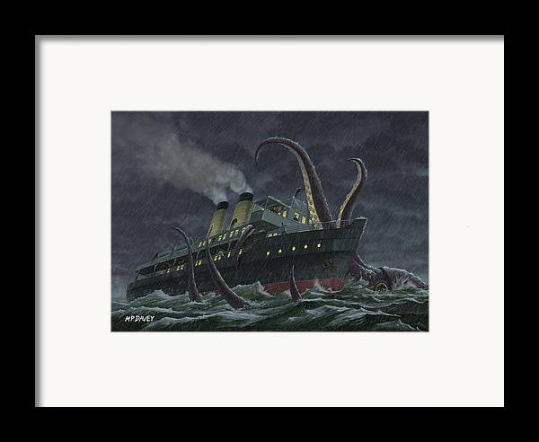 Squid Framed Print featuring the painting Attack Of Giant Squid by Martin Davey