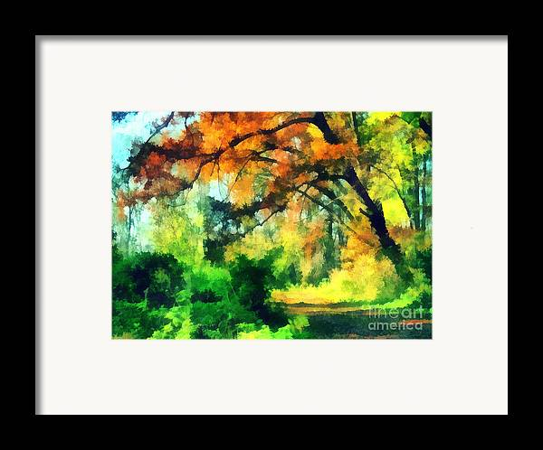 Odon Framed Print featuring the painting Autumn In The Woods by Odon Czintos