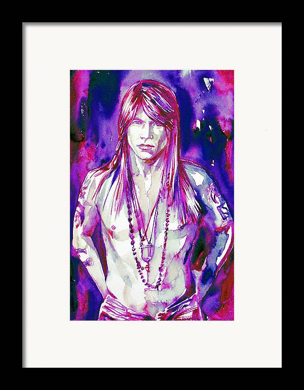 Axl Framed Print featuring the painting Axl Rose Portrait.3 by Fabrizio Cassetta