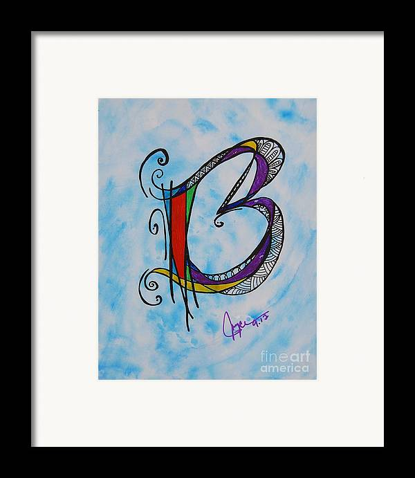 Ink Framed Print featuring the painting 'b' Monogram by Joyce Auteri