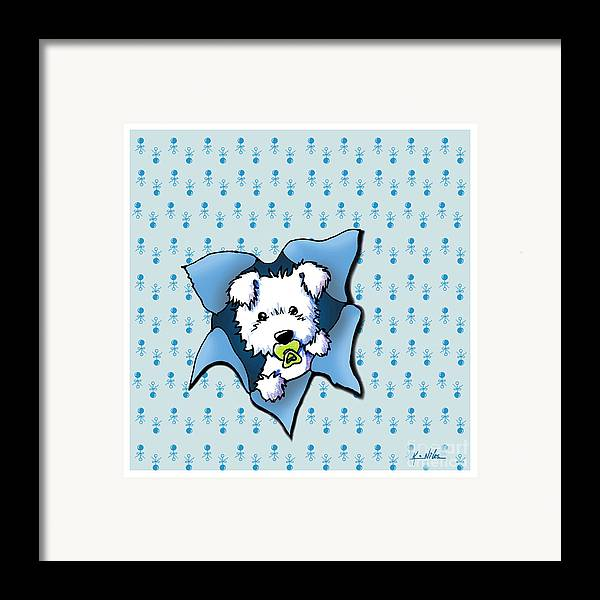 New Baby Art Framed Print featuring the drawing Baby Westie Blast by Kim Niles