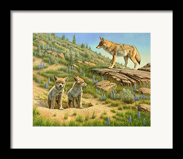 Wildlife Framed Print featuring the painting Babysitter - Coyotes by Paul Krapf