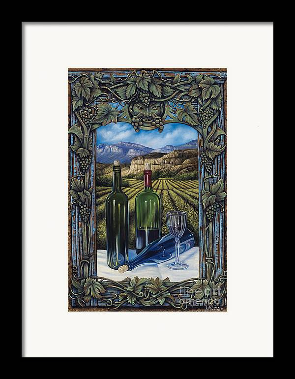 Wine Framed Print featuring the painting Bacchus Vineyard by Ricardo Chavez-Mendez