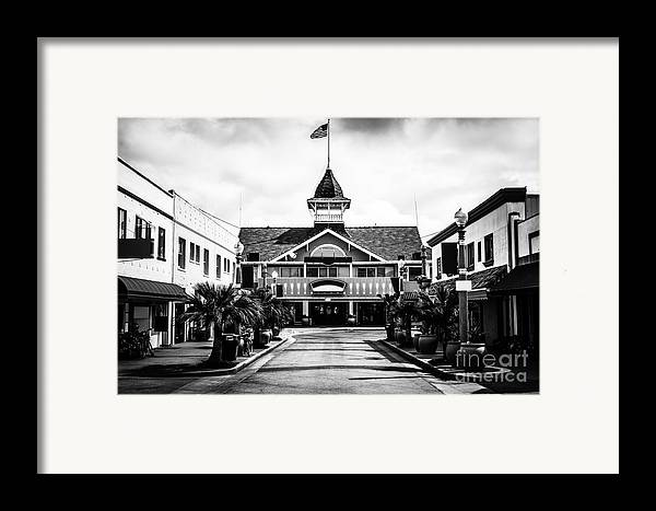 America Framed Print featuring the photograph Balboa California Main Street Black And White Picture by Paul Velgos