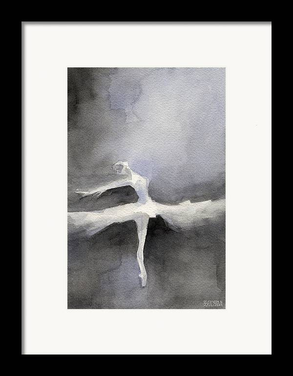 Ballerina Framed Print featuring the painting Ballet Dancer In White Tutu Watercolor Paintings Of Dance by Beverly Brown