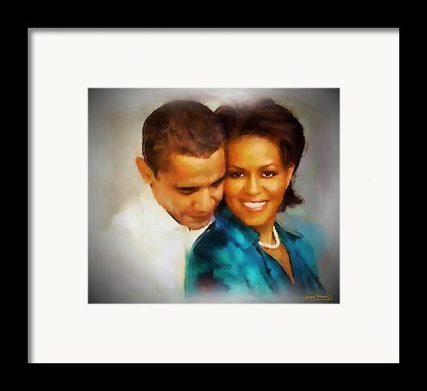 Barack Obama Framed Print featuring the painting Barack And Michelle by Wayne Pascall