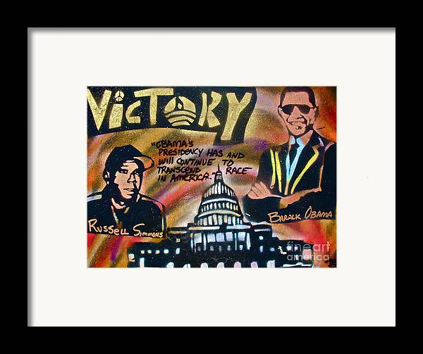 Barack Obama Framed Print featuring the painting Barack And Russell Simmons by Tony B Conscious