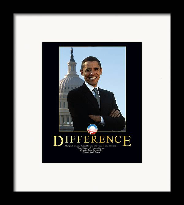 Barack Obama Framed Print featuring the photograph Barack Obama Difference by Retro Images Archive