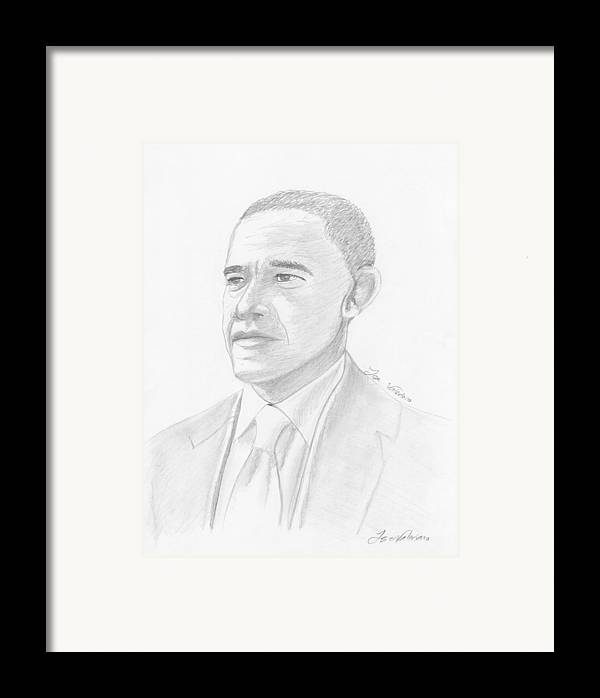 Barack Obama Framed Print featuring the drawing Barack Obama by M Valeriano